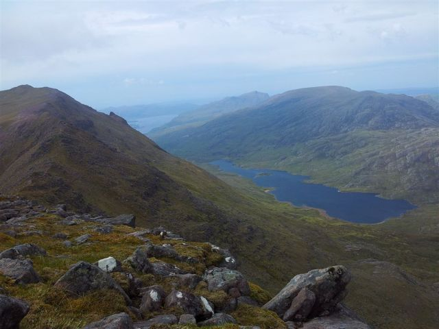 From the same spot to the right, limited views north over Loch Garbhaig & north