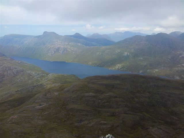 The view of An Teallach in the far right distance from Slioch 2012