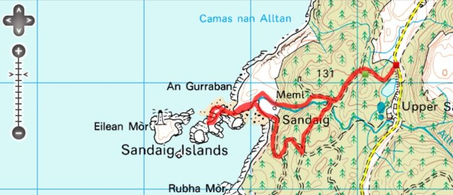 Sandaig Islands Route Map, click to zoom out