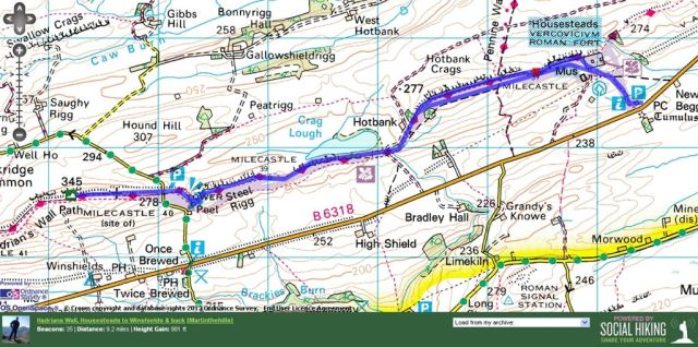 Housesteads to Winshield Crags Route Map