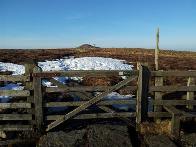Summit Cairn of Windy Gyle ahead