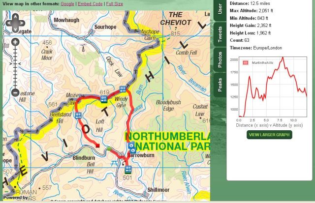 Social Hiking Route Map Cheviots Feb 17th