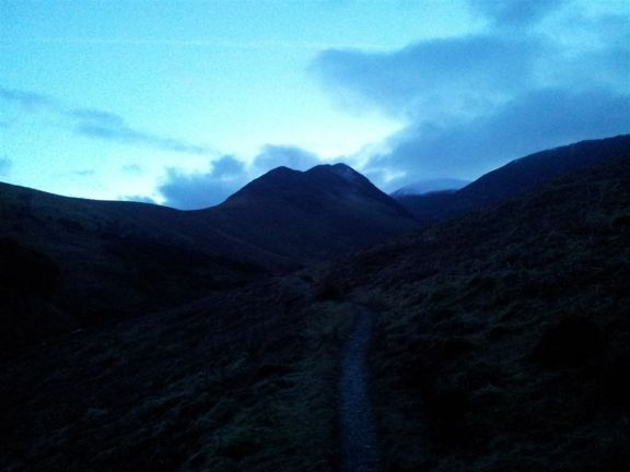 Last look back to Ard Crags at 6.50pm