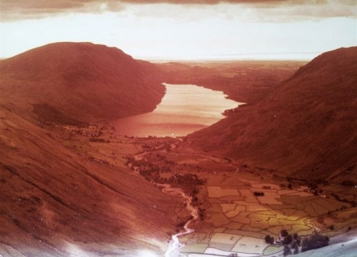 Aged photo of the wonderful view down Wasdale ascending Great Gable in 81
