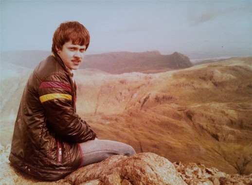 Me aged 20 on my first mountain Great Gable, dodgy gear, hair & moustache