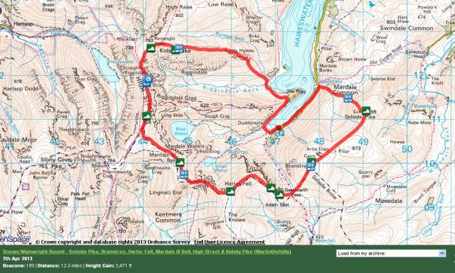 Haweswater Skyline Circuit Route Map