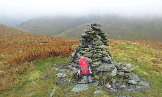 Souther Fell Cairn looking back to cloudy Scales Fell on Blencathra - 3.20pm
