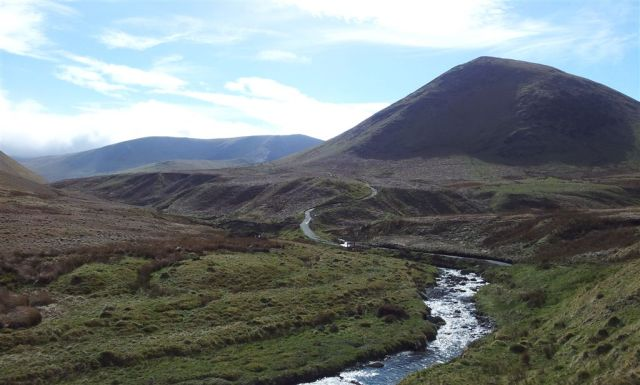 Initial route along River Glenderamackin path, Bannerdale Crags left, The Tongue right - 4.15pm