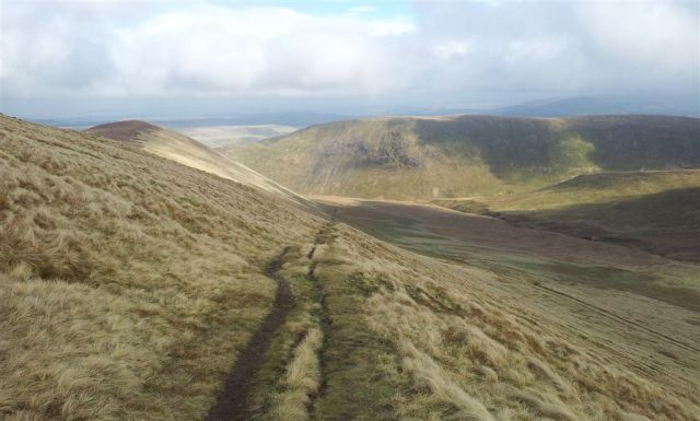 Looking back at the ascent, with Souther Fell top - 5.05pm