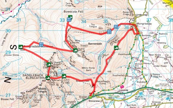 Blencathra Wainwrights Route from Scales