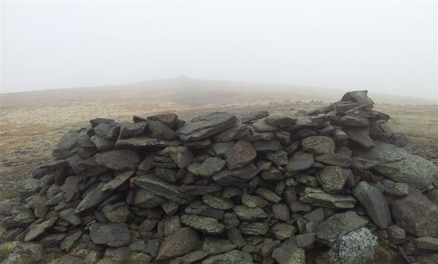 Bowscale Fell Summit Cairn in the cloud - 5.25pm