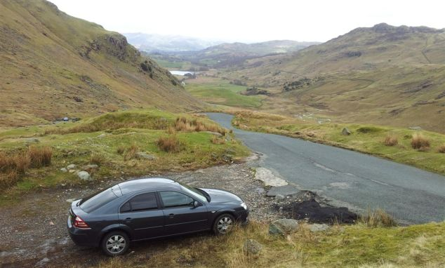 Parking on Wrynose Pass below the 3 Shire Stone