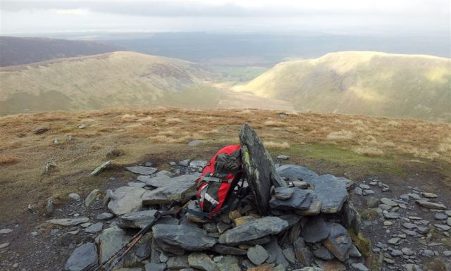 Top of Bannerdale Crags looking east with Mungrisdale beyond the dip - 6.05pm
