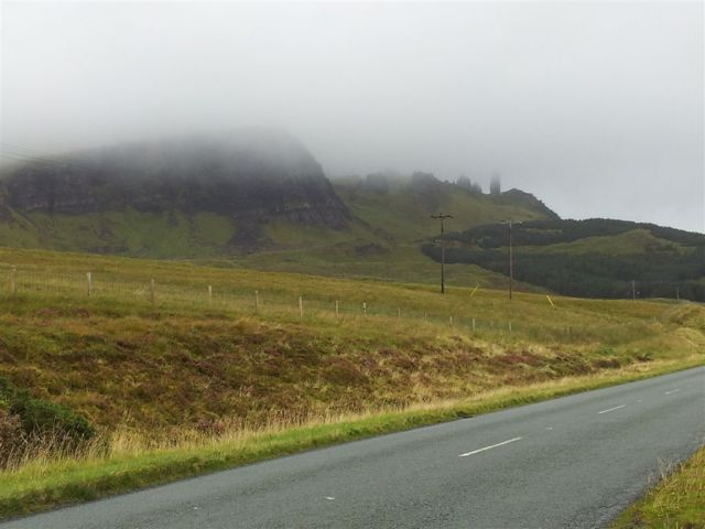 The Storr, with the Old Man shrouded in cloud.