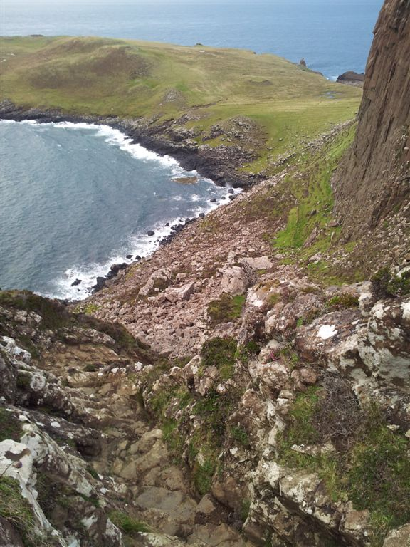 The final section of Rubha Hunish lies ahead, the steep path below