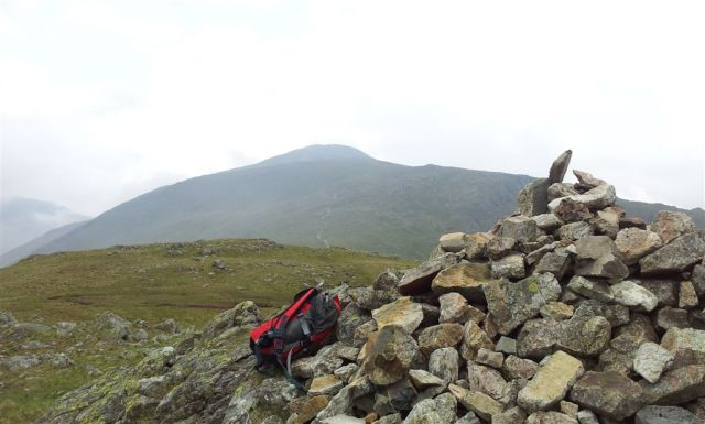 Base Brown summit cairn with route ahead over Green Gable to Great Gable