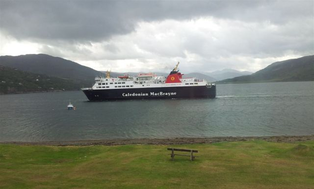 Morning view from Ullapool Guesthouse Window, with passing Stornoway Ferry