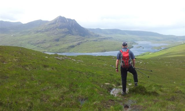 Professional mountain posing (note use of rock), looking sth west over Loch Lurgainn
