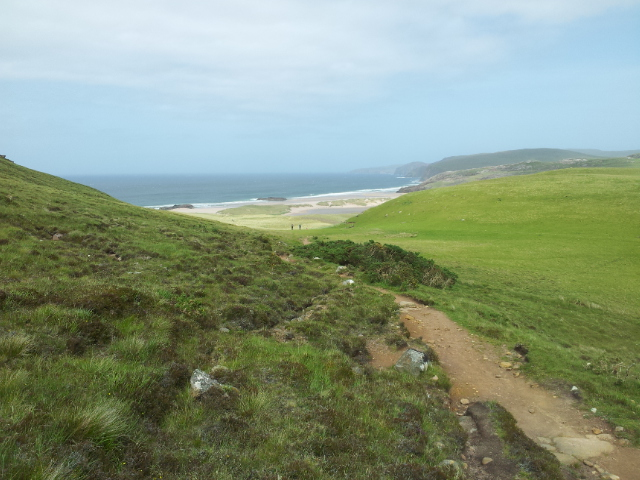 After 65 mins the first view of Sandwood Bay