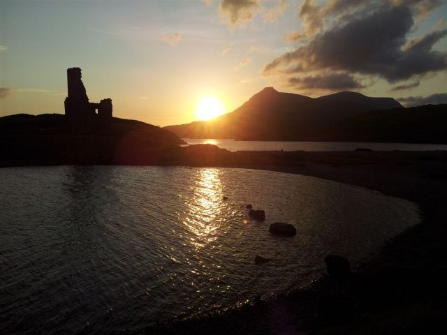Sun setting over Ardvreck Castle & the Quinag, 9.40pm
