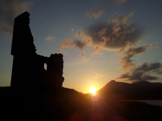 Sun setting over Ardvreck Castle & the Quinag