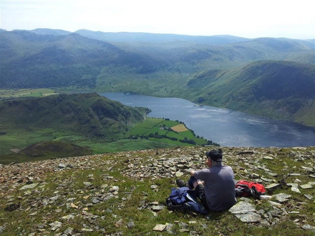 Crummock Water from near top of Grasmoor with Rannerdale Knotts below