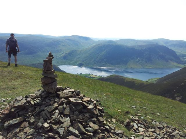 On Whiteless Pike, a cairn, Crummock Water and an Alan