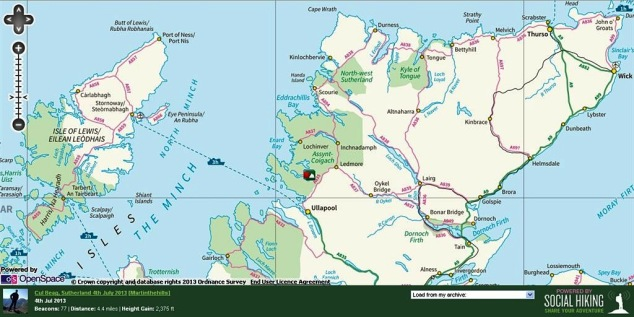 Sutherland & the NW Highlands with Cul Beag route - click to zoom