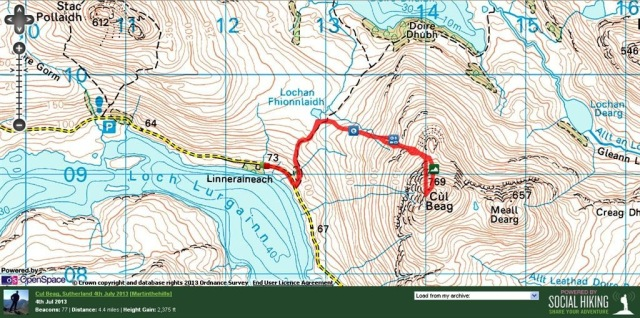 Cul Beag western approach route from near Linneraineach