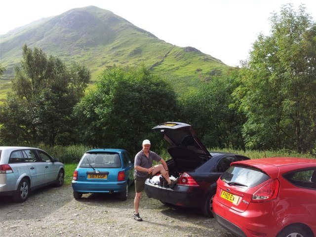 Car park at Harsop village, Hartsop Dodd behind
