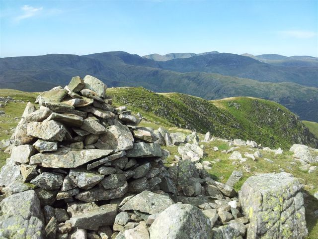 Caudle Head with Fairfield & Helvellyn range on horizon