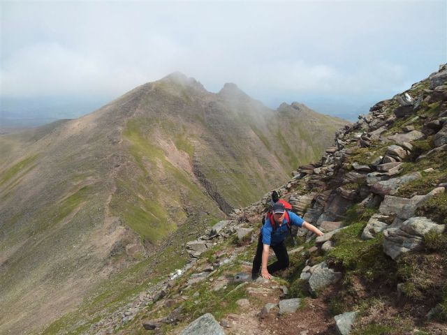Clambering up Sgurr Fiona with Bidein a Ghlas Thuill behind
