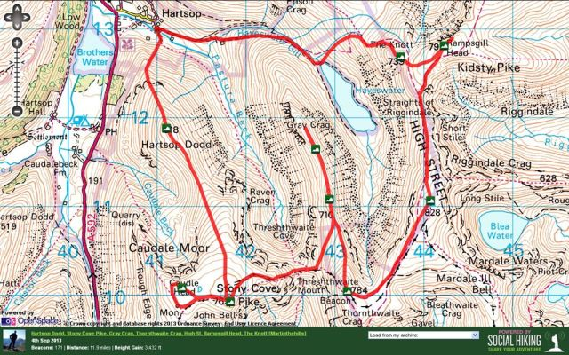 Hartsop Dodd, Stony Cove Pike, Gray Crag, Thornthwaite Crag, High St, Rampsgill Head and The Knott Route map