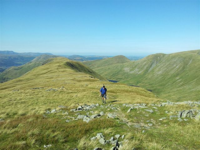 Returning from Grey Crag, descent route to right beyong Hayswater