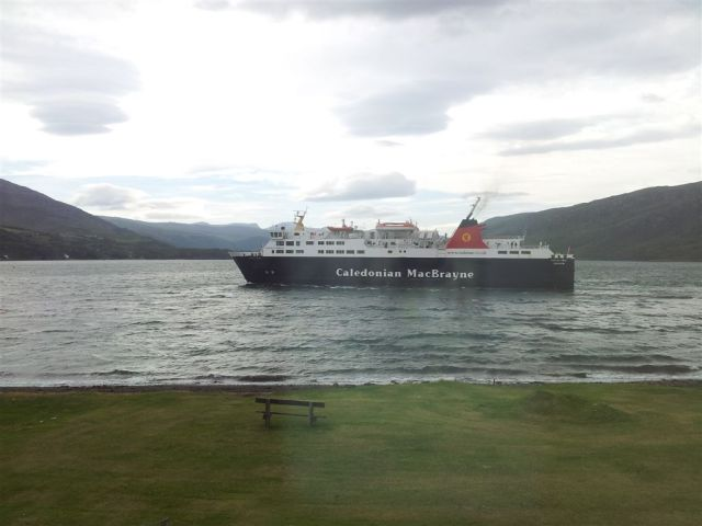 Stornoway Ferry sails past the guest house window