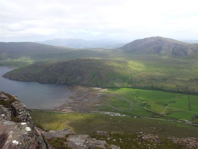 Views north over Little Loch Broom & Dundonnel with car by hut on right