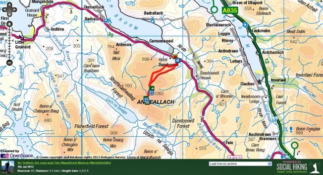An Teallach the easy way Route Map from Dundonnell
