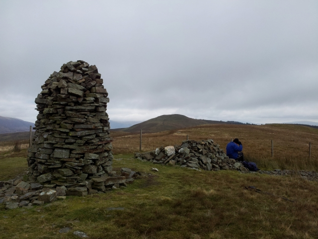 Broom Fell, big cairn, Lords Seat, small cairn big Alan
