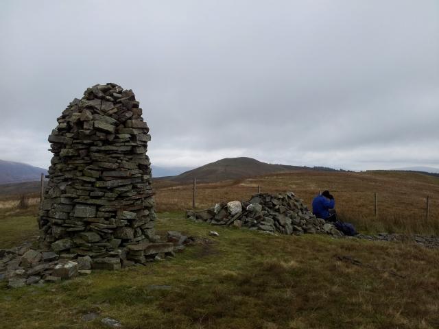 Broom Fell, big cairn, Lords Seat, small cairn big Alan