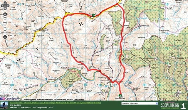 Cheviots Route Map from Slymefoot (Trows Rd),  Barrowburn, Shillhope Law, Border Ridge, Windy Gyle, The Street, 12 miles