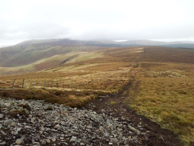 On way up Windy Gyle looking back over Border Gate to the lumpy Cheviot