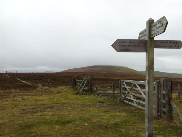 The paved path up to the false top of Windy Gyle