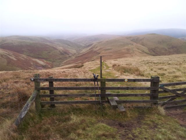 The way down, over the shoulder of the hill to the right