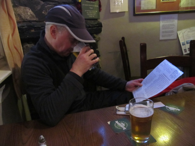 Dog & Gunn, trying to read a menu - and yes that cap's welded to my head :-)