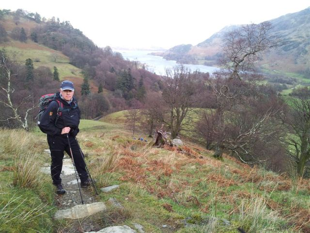 On the way up Birks, Ullswater behind