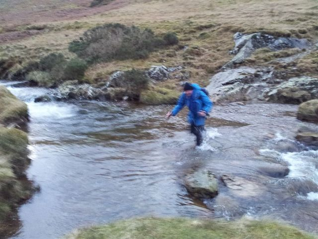 An aquatic Alan attempting the Mosedale Beck ford