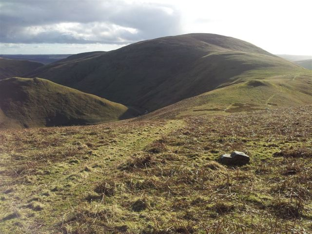Looking back to Shillhope Law with Inner Hill peeping left