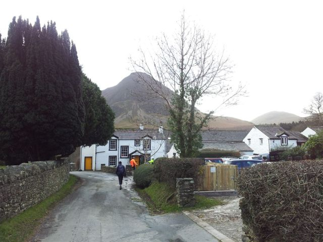 Passing the Kirkstile Inn on way to Mellbreak