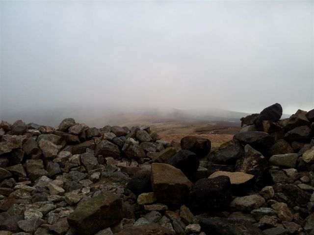The Cheviot in cloud from Windy Gyle summit shelter