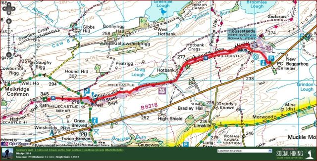 Hadrians Wall route, Housesteads to Winshields and back
